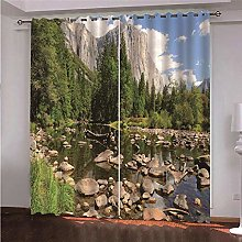 WAFJJ Curtain for Girls Lake & Forest Bedroom