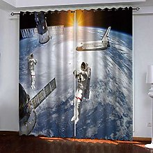 WAFJJ Curtain for Girls Planet & Astronaut Bedroom