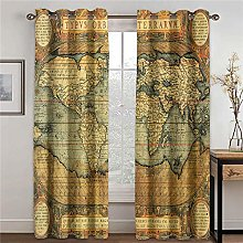 WAFJJ Curtain for Girls Retro & Map Bedroom