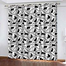 WAFJJ Eyelet Blackout Curtains Black&cat Curtain