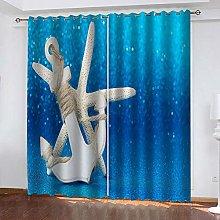 WAFJJ Eyelet Blackout Curtains Blue&Anchor Curtain