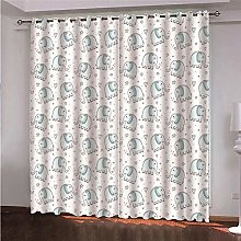 WAFJJ Eyelet Blackout Curtains Blue & Elephant