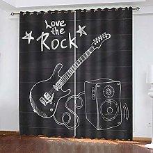 WAFJJ Eyelet Blackout Curtains Cartoon&Music