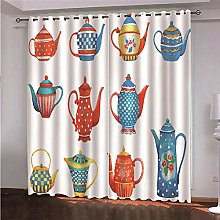 WAFJJ Eyelet Blackout Curtains Colorful & Kettle