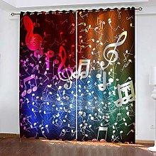 WAFJJ Eyelet Blackout Curtains Colorful&Music