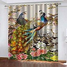 WAFJJ Eyelet Blackout Curtains Colorful&Peacock