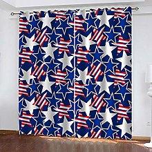 WAFJJ Eyelet Blackout Curtains Colorful&Pentagram