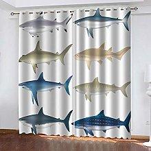 WAFJJ Eyelet Blackout Curtains Colorful & Shark