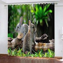 WAFJJ Eyelet Blackout Curtains Forest & Rabbit