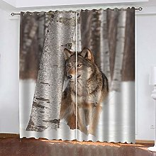 WAFJJ Eyelet Blackout Curtains Forest & Wolf