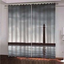 WAFJJ Eyelet Blackout Curtains Night & Lighthouse