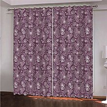 WAFJJ Eyelet Blackout Curtains Purple & Pattern