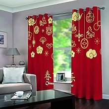 WAFJJ Eyelet Blackout Curtains Red & festive