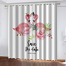 WAFJJ Eyelet Blackout Curtains Red & Flamingo