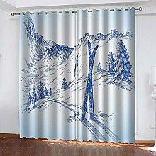 WAFJJ Eyelet Blackout Curtains Retro & Ski Curtain