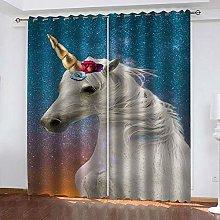 WAFJJ Eyelet Blackout Curtains White & Unicorn