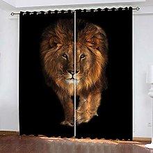 WAFJJ Eyelet Blackout Curtains Yellow&Lion Curtain