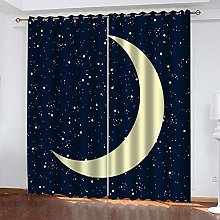 WAFJJ Eyelet Blackout Curtains Yellow&moon Curtain