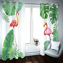 WAFJJ Thermal Insulated Bedroom Curtain Flamingo