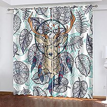WAFJJ Thermal Insulated Blackout Curtains Deer &
