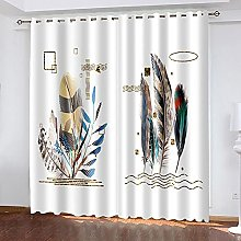 WAFJJ Thermal Insulated Blackout Curtains Feather