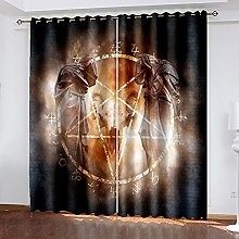 WAFJJ Thermal Insulated Blackout Curtains Horror &
