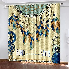 WAFJJ Thermal Insulated Blackout Curtains Yellow &
