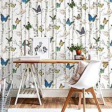 WAFJJ WallpaperBirch Tree Butterfly Mural Roll