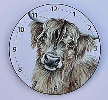 WaggyDogz Highland Cow Gift Wall Clock (CLK-FY05)