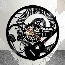 WAGUZA Guitar Vinyl Record Wall Clock Music Note