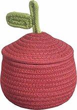 WAJklj Small Cotton Rope Storage Basket with Lid,