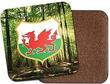 Wales Crest Cork Backed Drinks Coaster for Tea &