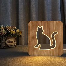 Walking cat Light Wooden 3D LED Night Light for