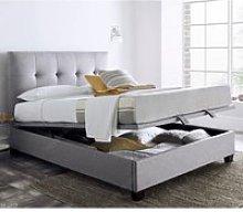 Walkworth Light Grey Fabric Ottoman Storage Bed