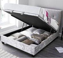 Walkworth Silver Velvet Fabric Ottoman Storage Bed