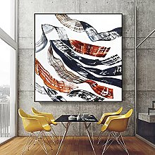 Wall Art Abstract Modern Ribbon Lines Canvas Oil
