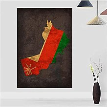 Wall Art Country Flag Maps Poster Oman Country