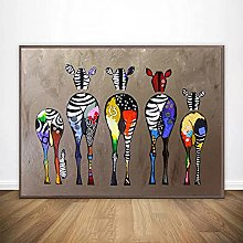 Wall art decoration painting Colorful Cute Zebra