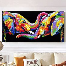 Wall art decoration painting Colorful Elephant