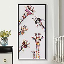 Wall art decoration painting Colorful Giraffe