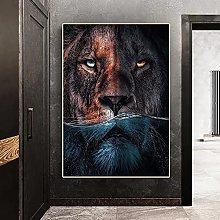 Wall art decoration painting Modern Animals Lion