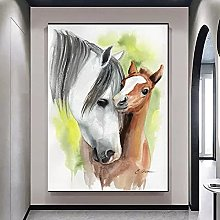 Wall art decoration painting Two Horse Animal