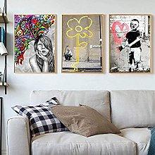 Wall Art Modern Whimsical Girl Canvas Painting