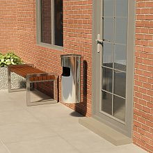 Wall Ashtray Dustbin 26 L Stainless Steel - Silver