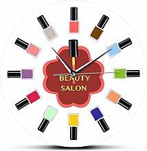Wall Clock 12 Colorful Nail Polish Beauty Salon