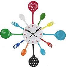 Wall Clock, 16' Metal Kitchen Cutlery Utensil