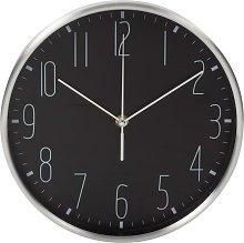 Wall Clock 25 cm Black and Sliver - Black - Perel