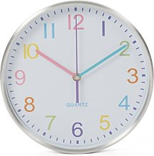 Wall Clock 25 cm White and Sliver - White - Perel