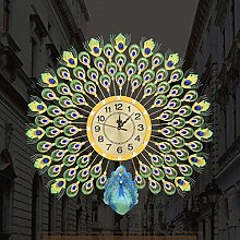 "Wall Clock, 29"" Crystal Leaf Peacock Wall"