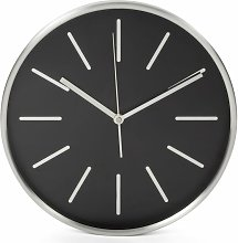 Wall Clock 30 cm Black and Sliver - Black - Perel